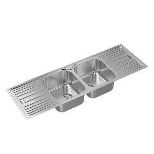 Double Bowl Double Tray Inset S/Steel Sink